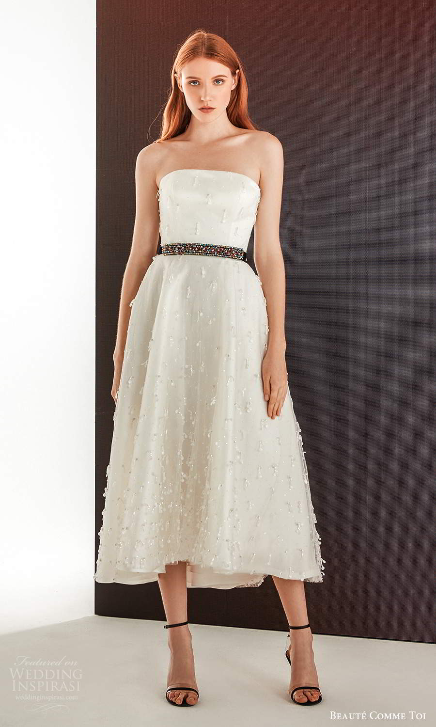 beaute comme toi fall 2021 bridal strapless straight across neckline embellished tea length a line wedding dress (8) mv