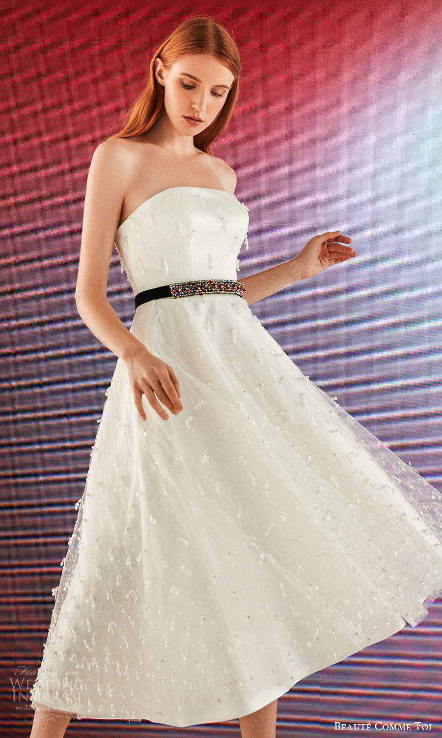 beaute comme toi fall 2021 bridal strapless straight across neckline embellished tea length a line wedding dress (8) sv