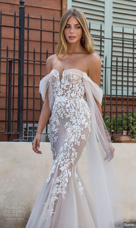 berta fall 2021 privee  bridal detachable off shoulder straps strapless semi sweetheart neckline embellished bodice sheath mermaid wedding dress chapel train (12) zv