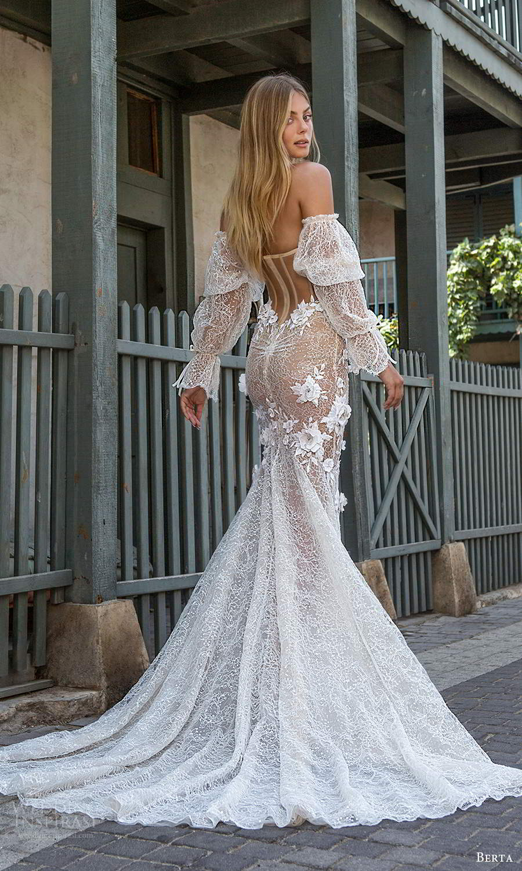 berta fall 2021 privee  bridal detached bishop sleeves strapless sweetheart neckline fully embellished fit flare mermaid wedding dress chapel train blush (6) bv
