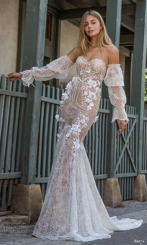 berta fall 2021 privee  bridal detached bishop sleeves strapless sweetheart neckline fully embellished fit flare mermaid wedding dress chapel train blush (6) mv