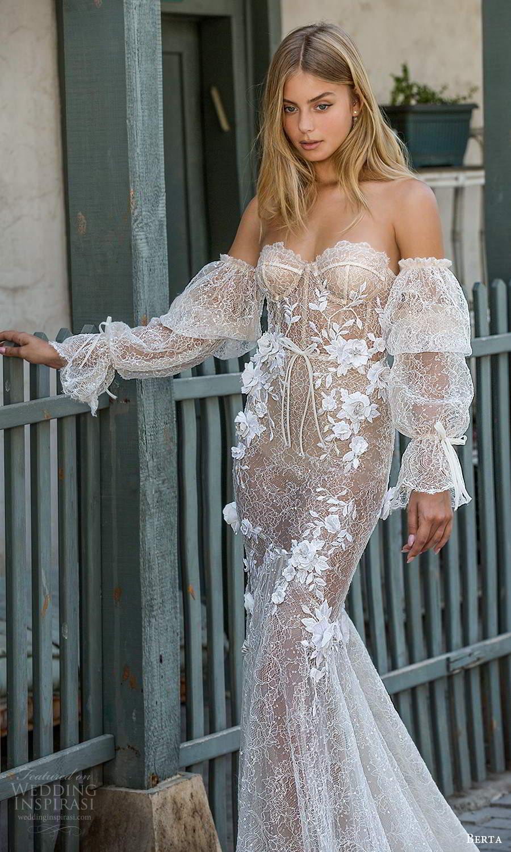 berta fall 2021 privee  bridal detached bishop sleeves strapless sweetheart neckline fully embellished fit flare mermaid wedding dress chapel train blush (6) zv
