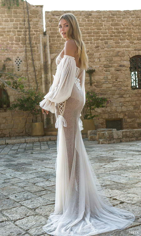 berta fall 2021 privee  bridal detached bishop sleeves strapless sweetheart neckline fully embellished sheath wedding dress chapel train (1) bv