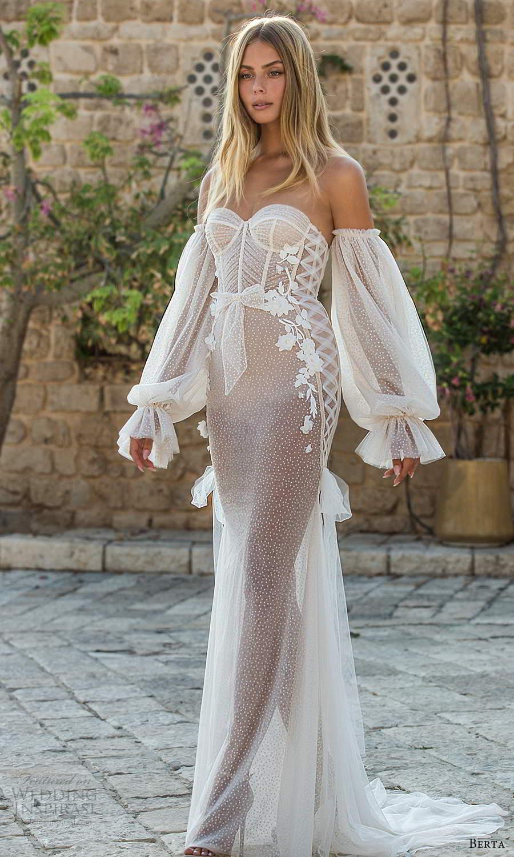 berta fall 2021 privee  bridal detached bishop sleeves strapless sweetheart neckline fully embellished sheath wedding dress chapel train (1) mv