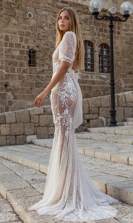berta fall 2021 privee  bridal half puff sleeves plunging v neckline fully embellished fit flare mermaid wedding dress chapel train (11) bv