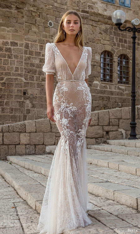berta fall 2021 privee  bridal half puff sleeves plunging v neckline fully embellished fit flare mermaid wedding dress chapel train (11) mv