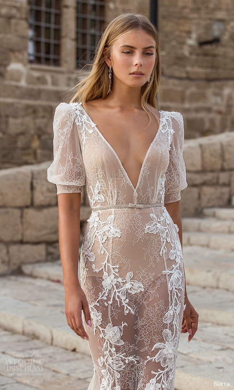 berta fall 2021 privee  bridal half puff sleeves plunging v neckline fully embellished fit flare mermaid wedding dress chapel train (11) zv