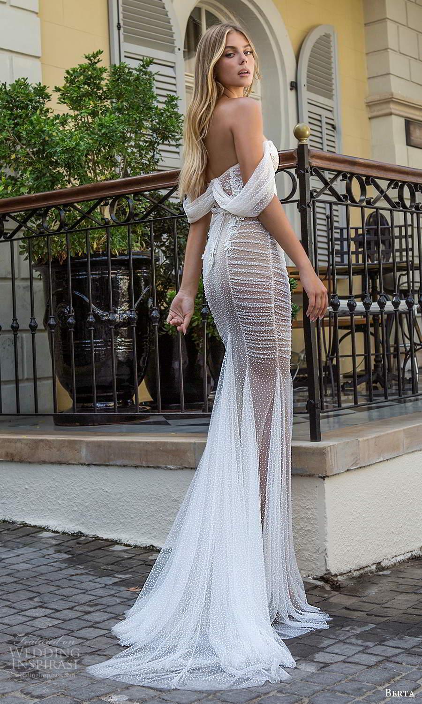 berta fall 2021 privee  bridal off shoulder straps sweetheart neckline fully embellished fit flare mermaid wedding dress chapel train (9) bv