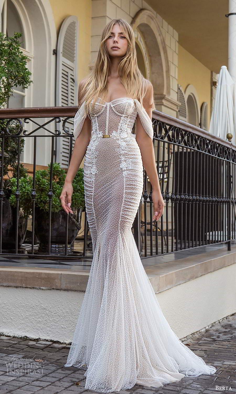berta fall 2021 privee  bridal off shoulder straps sweetheart neckline fully embellished fit flare mermaid wedding dress chapel train (9) mv