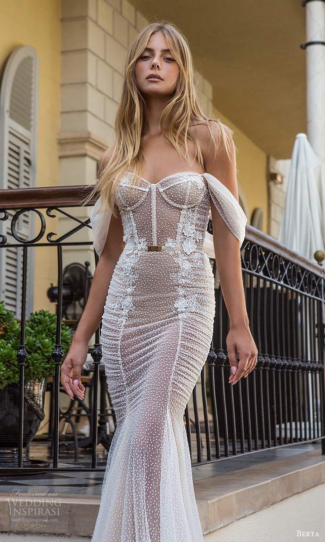 berta fall 2021 privee  bridal off shoulder straps sweetheart neckline fully embellished fit flare mermaid wedding dress chapel train (9) zv