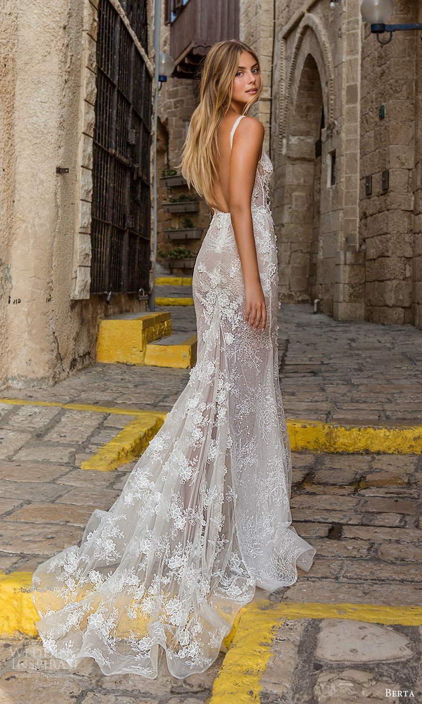 berta fall 2021 privee  bridal sleeveless straps semi sweetheart square neckline fully embellished fit flare sheath wedding dress chapel train blush (8) bv