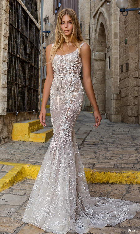 berta fall 2021 privee  bridal sleeveless straps semi sweetheart square neckline fully embellished fit flare sheath wedding dress chapel train blush (8) mv