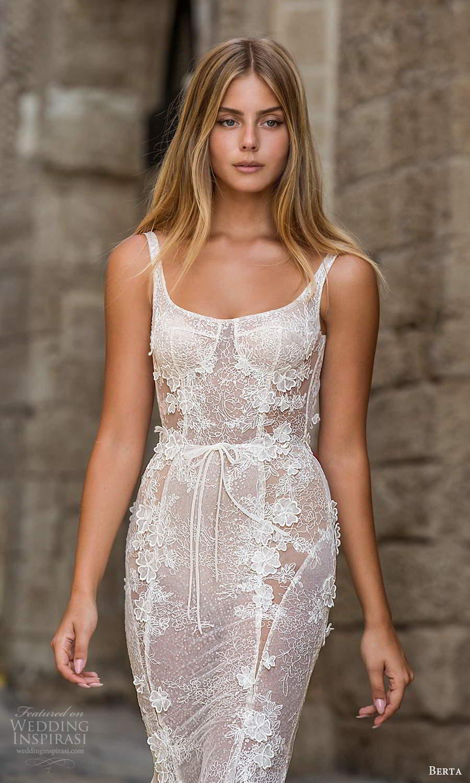 berta fall 2021 privee  bridal sleeveless straps semi sweetheart square neckline fully embellished fit flare sheath wedding dress chapel train blush (8) zv