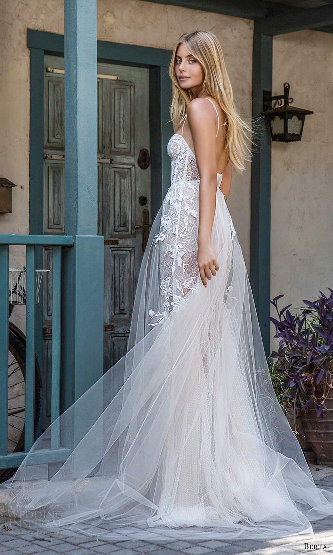 berta fall 2021 privee  bridal sleeveless thin straps sweetheart neckline sheer bodice sheath wedding dress a line overskirt chapel train (3) bv