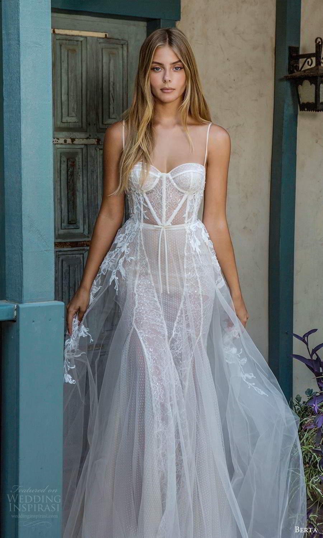 berta fall 2021 privee  bridal sleeveless thin straps sweetheart neckline sheer bodice sheath wedding dress a line overskirt chapel train (3) mv