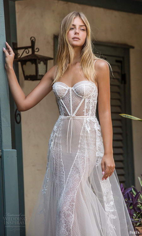 berta fall 2021 privee  bridal sleeveless thin straps sweetheart neckline sheer bodice sheath wedding dress a line overskirt chapel train (3) zv