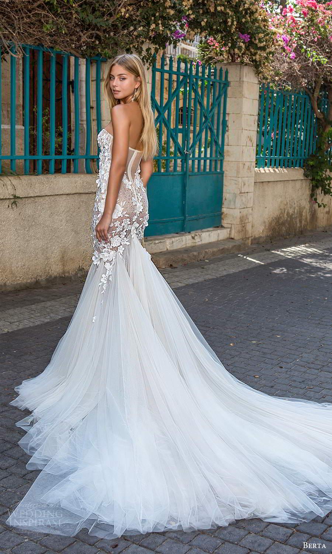 berta fall 2021 privee  bridal strapless sweetheart neckline embellished bodice fit flare mermaid wedding dress chapel train (5) bv
