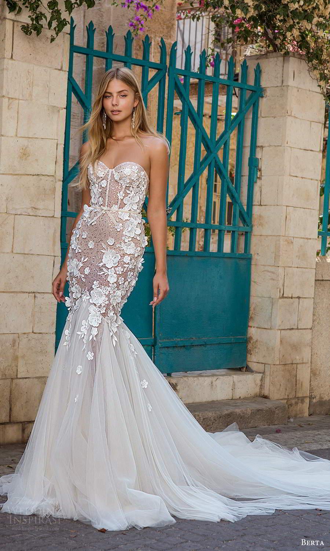 berta fall 2021 privee  bridal strapless sweetheart neckline embellished bodice fit flare mermaid wedding dress chapel train (5) mv
