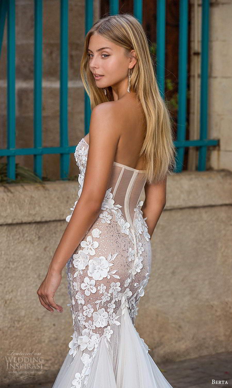 berta fall 2021 privee  bridal strapless sweetheart neckline embellished bodice fit flare mermaid wedding dress chapel train (5) zbv