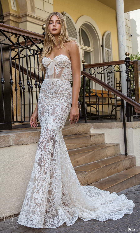 berta fall 2021 privee  bridal strapless sweetheart neckline fully embellished fit flare mermaid wedding dress chapel train (10) mv