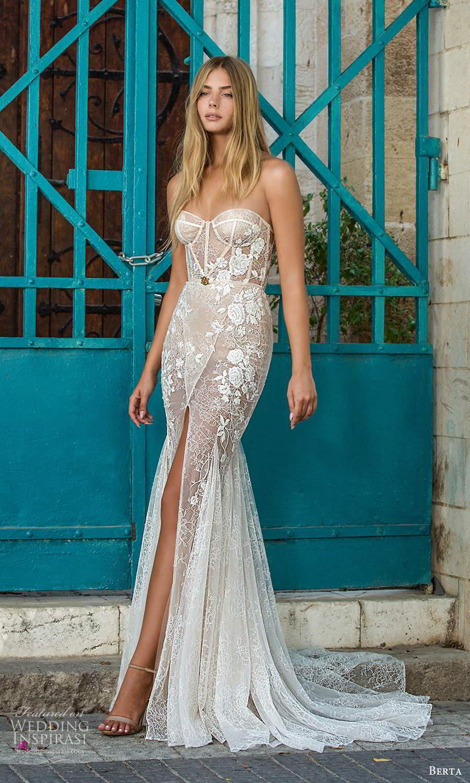 berta fall 2021 privee  bridal strapless sweetheart neckline fully embellished fit flare mermaid wedding dress slit skirt chapel train (2) mv