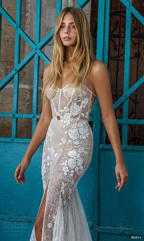 berta fall 2021 privee  bridal strapless sweetheart neckline fully embellished fit flare mermaid wedding dress slit skirt chapel train (2) zv