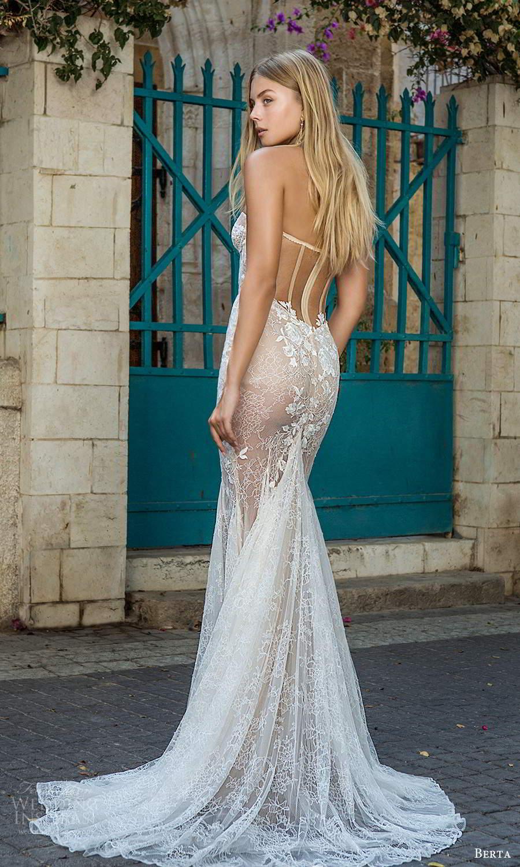 berta fall 2021 privee  bridal strapless sweetheart neckline fully embellished fit flare mermaid wedding dress slit skirt chapel train illusion back (2) bv
