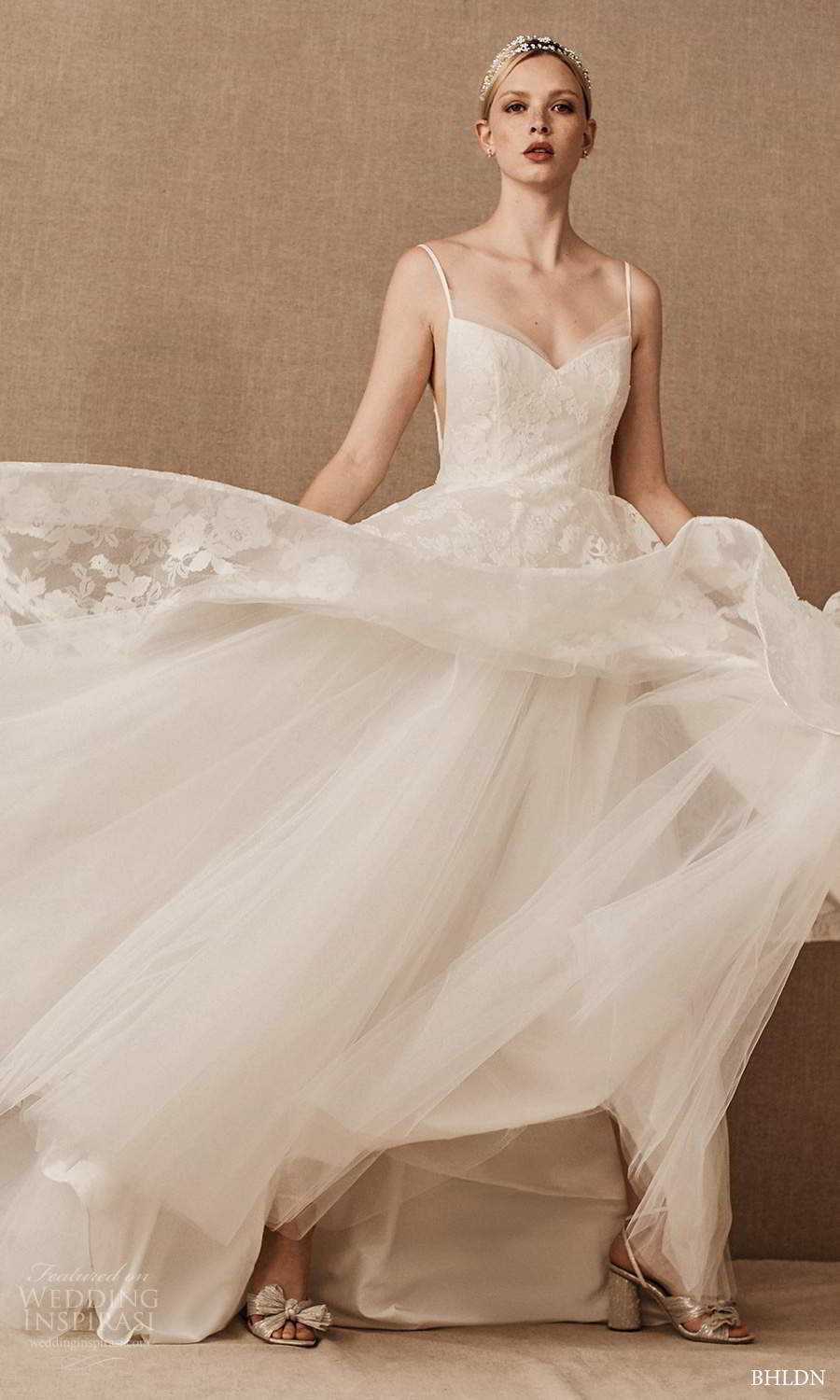 bhldn spring 2021 bridal sleeveless straps sweetheart neckline embellished bodice a line ball gown wedding dress chapel train (1) fv