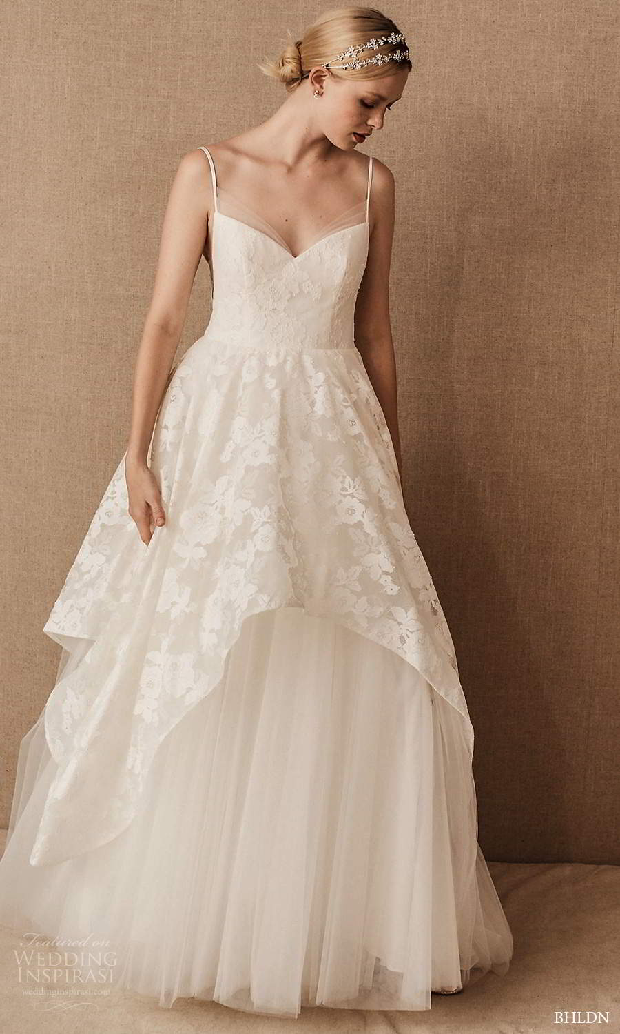 bhldn spring 2021 bridal sleeveless straps sweetheart neckline embellished bodice a line ball gown wedding dress chapel train (1) mv