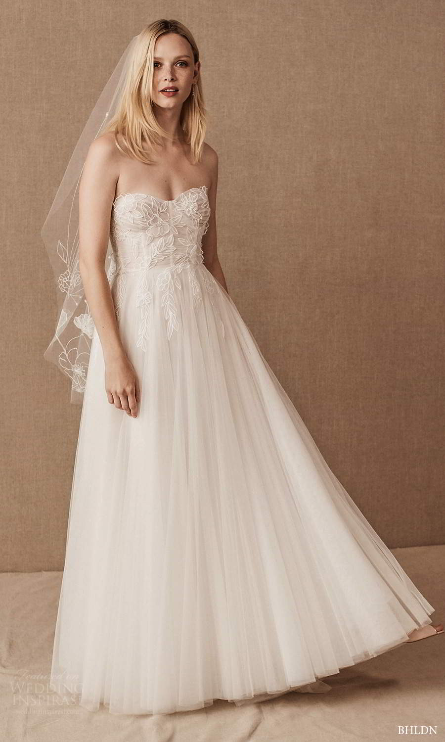 bhldn spring 2021 bridal strapless semi sweetheart neckline embellished bodice a line ball gown wedding dress (9) mv