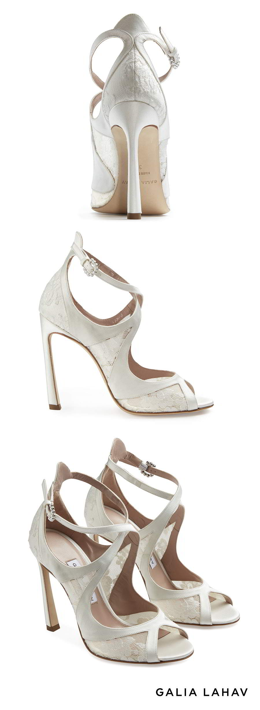 galia lahav shoes fall 2021 bridal lace cross strap open toe high heel wedding shoe packshot (charlotte) mv