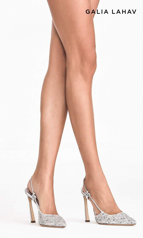 galia lahav shoes fall 2021 bridal rhinestone beaded slingback pointed toe high heel pump shoes (astrid silver) mv