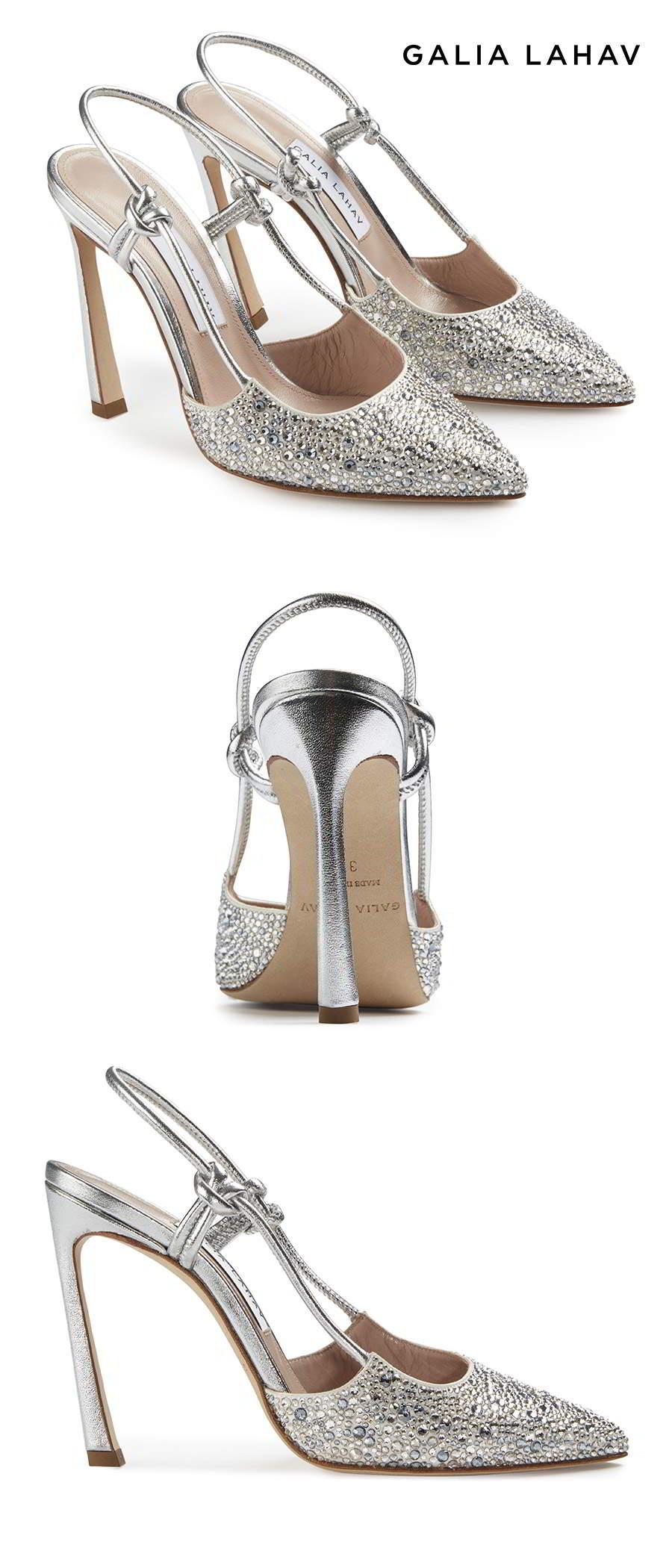 galia lahav shoes fall 2021 bridal rhinestone beaded slingback pointed toe high heel pump shoes packshot (astrid silver) mv