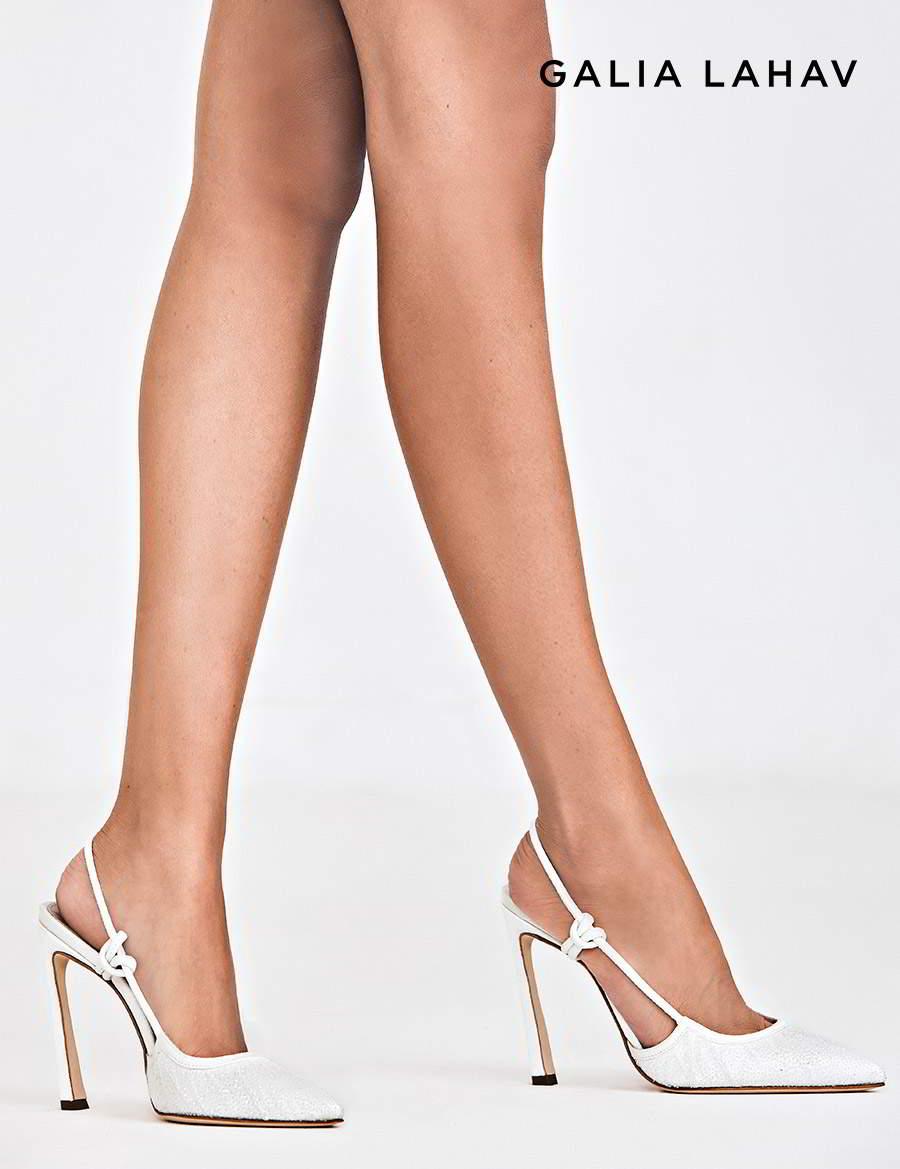 galia lahav shoes fall 2021 bridal rhinestone beaded slingback pointy toe high heel pump shoes (astrid white) mv