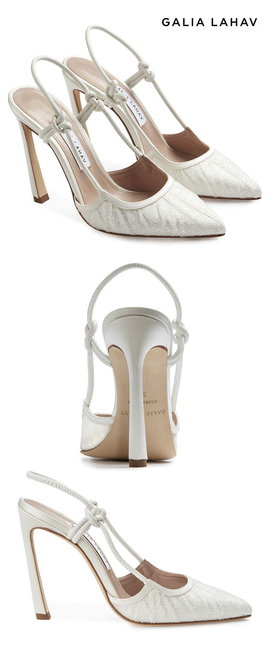 galia lahav shoes fall 2021 bridal rhinestone beaded slingback pointy toe high heel pump shoes packshot (astrid white) mv