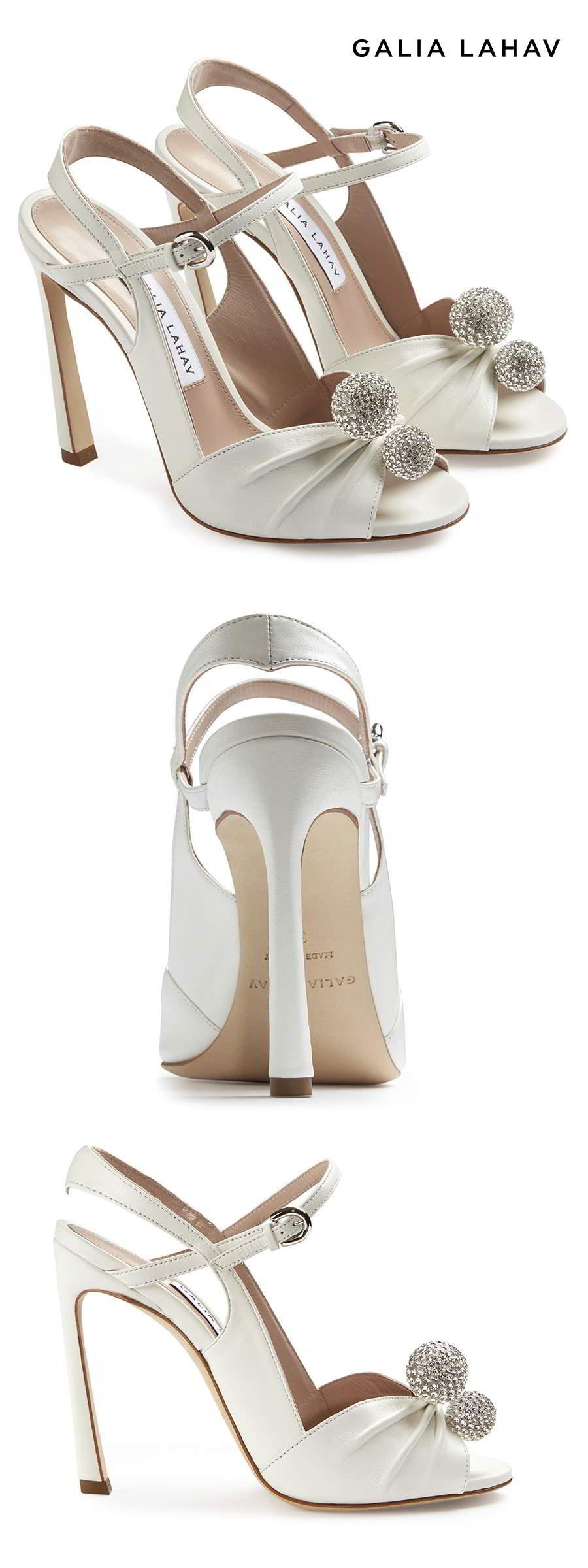 galia lahav shoes fall 2021 bridal strappy peep toe high heel wedding shoe (kate diamonte) mv