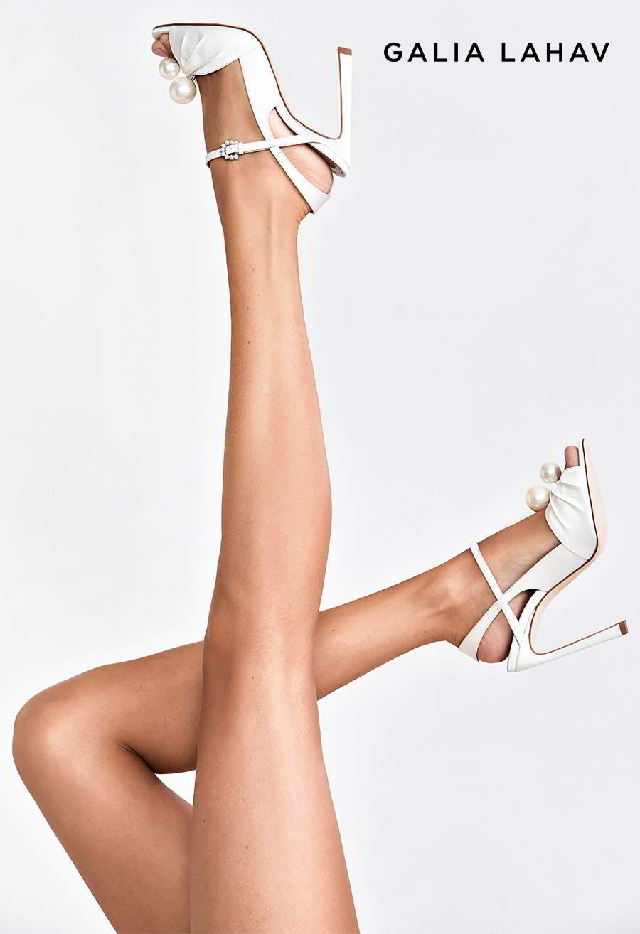 galia lahav shoes fall 2021 bridal strappy peep toe high heel wedding shoe (kate pearl) mv