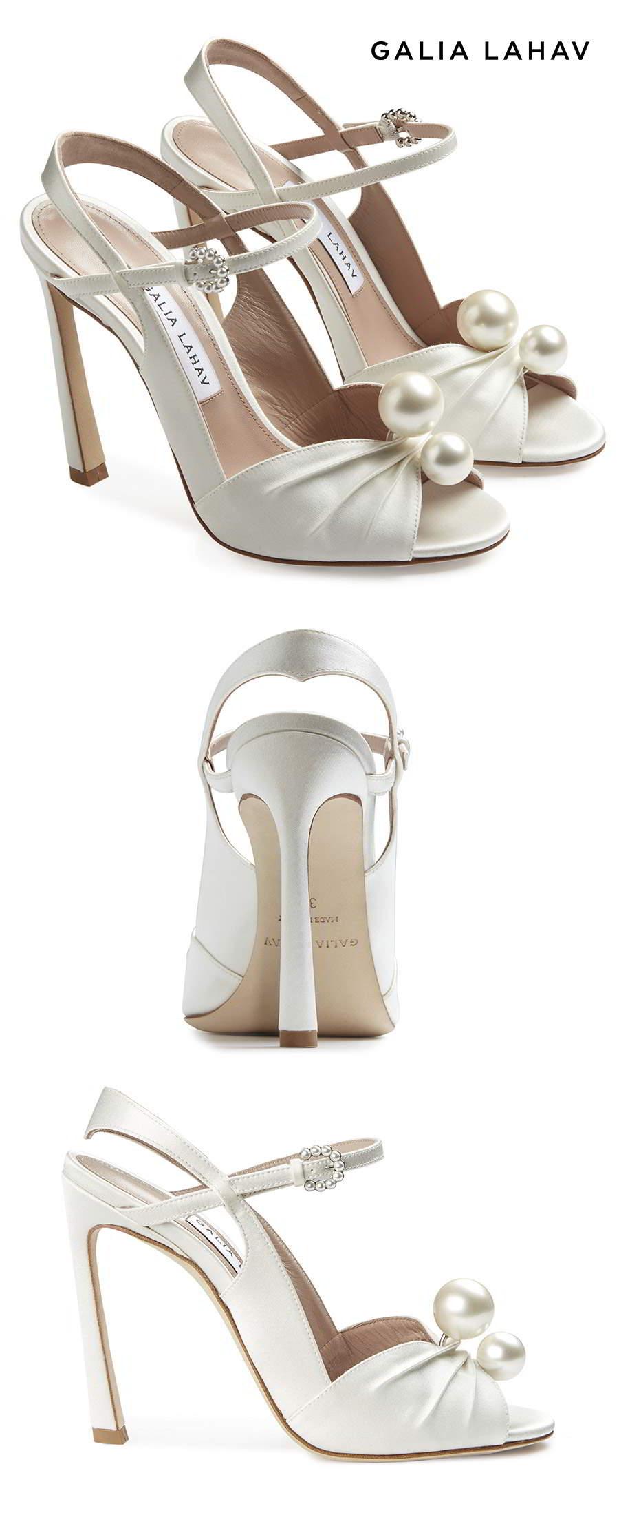 galia lahav shoes fall 2021 bridal strappy peep toe high heel wedding shoe (kate pearl) sv