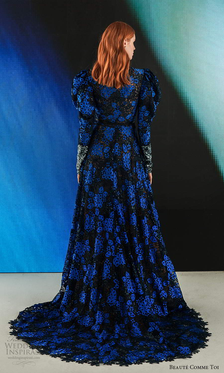 long leg of mutton sleeves jewel neckline fully embellished a line wedding dress blue black chapel train (9) bv