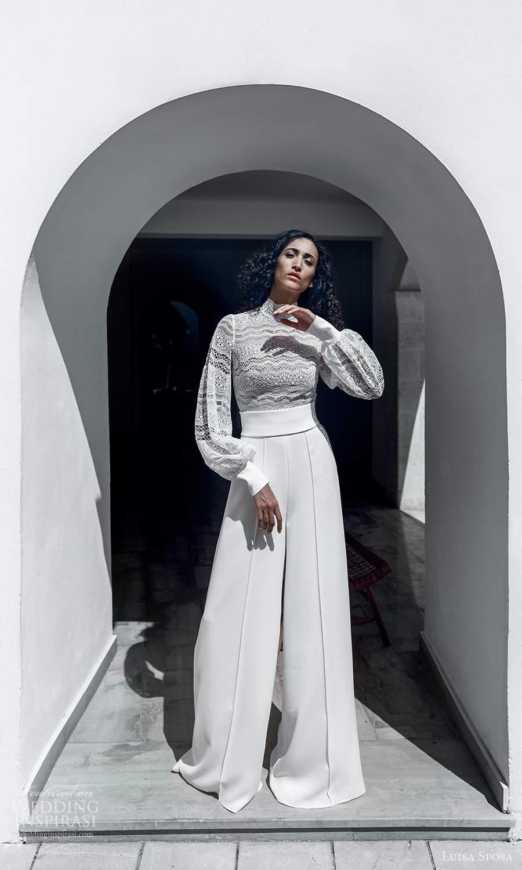 luisa sposa 2021 bridal bishop sleeves high neckline embellished lace top pant wedding dress (11) fv