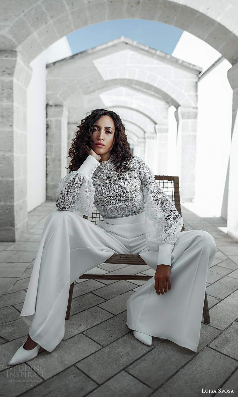 luisa sposa 2021 bridal bishop sleeves high neckline embellished lace top pant wedding dress (11) mv