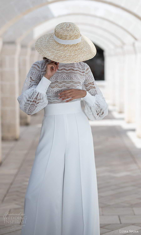 luisa sposa 2021 bridal bishop sleeves high neckline embellished lace top pant wedding dress (11) zv
