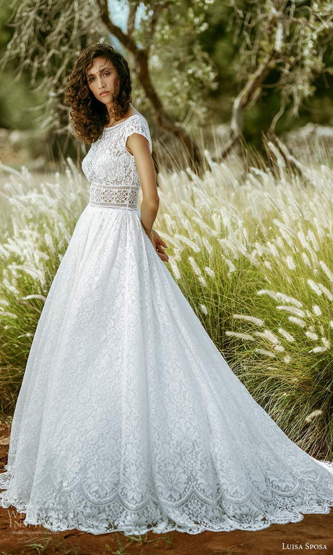 luisa sposa 2021 bridal cap sleeve bateaue neckline fully embellished lace a line ball gown wedding dress chapel train (10) mv
