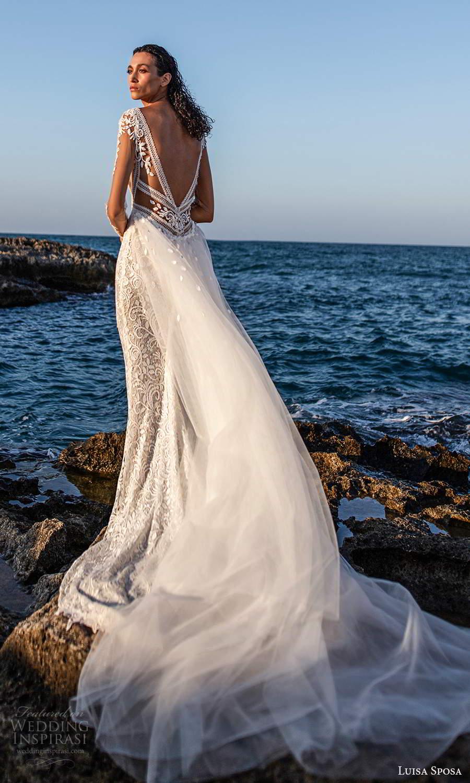 luisa sposa 2021 bridal illusion long sleeves plunging v neckline fully embellished lace sheath wedding dress a line overskirt chapel train (7) bv