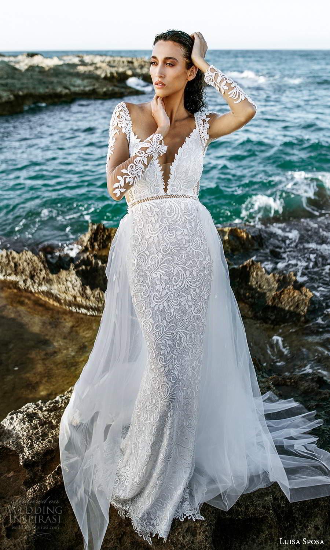 luisa sposa 2021 bridal illusion long sleeves plunging v neckline fully embellished lace sheath wedding dress a line overskirt chapel train (7) mv