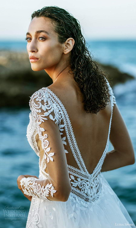 luisa sposa 2021 bridal illusion long sleeves plunging v neckline fully embellished lace sheath wedding dress a line overskirt chapel train (7) zbv