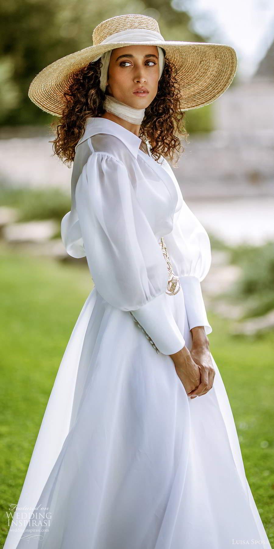 luisa sposa 2021 bridal long sleeve jacket strapless semi sweetheart neckline clean minimalist a line ball gown wedding dress chapel train (3) lv