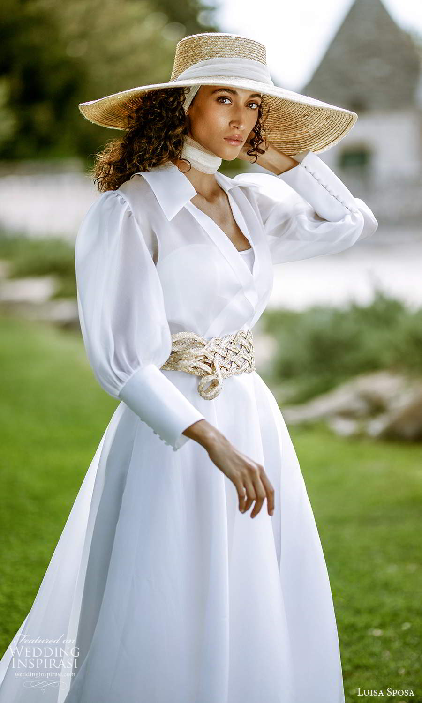 luisa sposa 2021 bridal long sleeve jacket strapless semi sweetheart neckline clean minimalist a line ball gown wedding dress chapel train (3) zv
