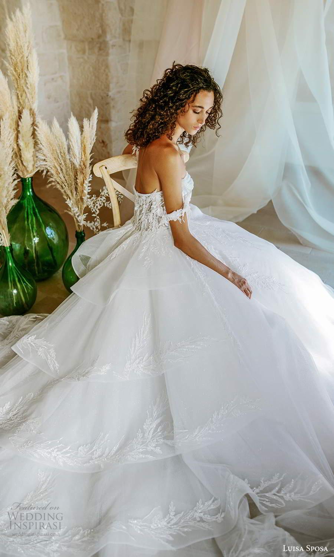 luisa sposa 2021 bridal off shoulder straps sweetheart neckline embellished bodice a line ball gown wedding dress chapel train (4) bv