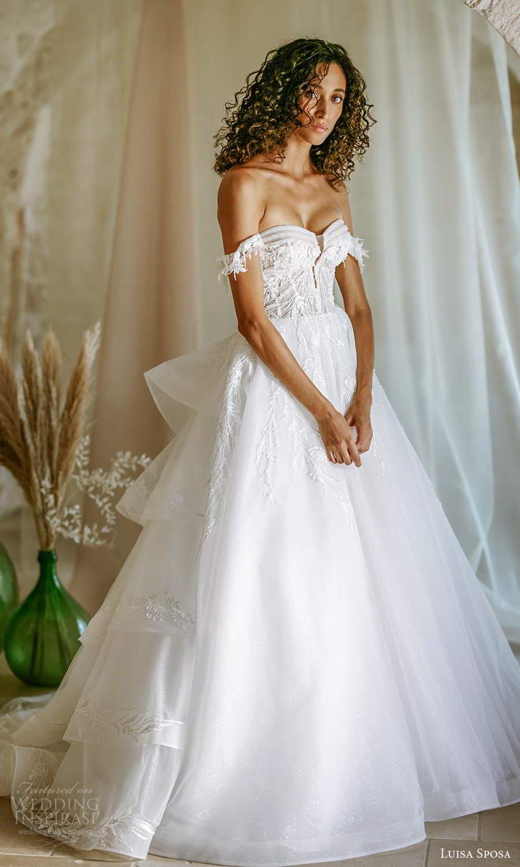 luisa sposa 2021 bridal off shoulder straps sweetheart neckline embellished bodice a line ball gown wedding dress chapel train (4) mv